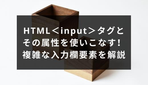 HTML<input>タグとその属性を使いこなす!複雑な入力欄要素を解説